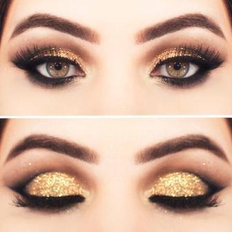 Новогодний макияж для коричневых глаз
