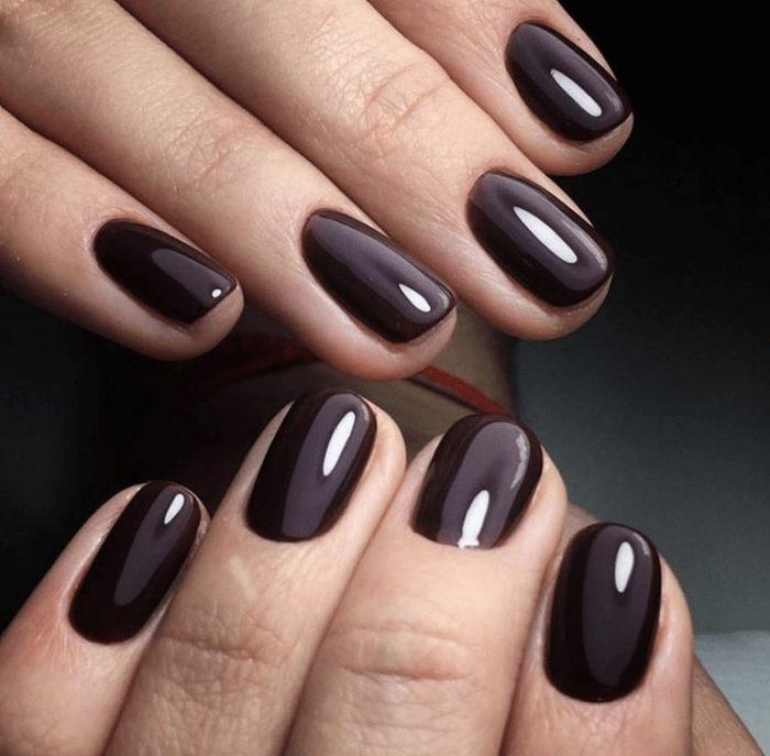 коричневый карамельный цвет ногтей
